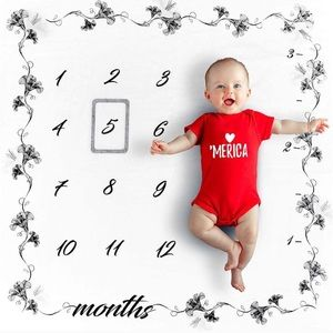Ultra soft organic baby monthly milestone blanket